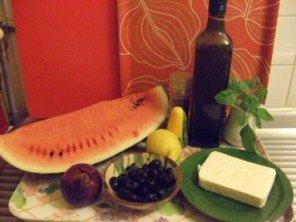 20150718 - Salade de pastèque, feta et olives noires - Ingrédients