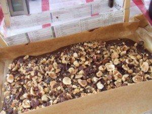 20171209 - Buche praliné ananas - etaler chocolat fondu et parsemer avec noisettes